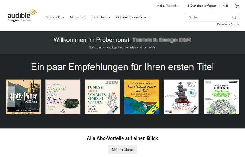 Im Audible-Probeabo erhältst du ein Hörbuch Guthaben kostenlos. Damit kannst du dir ein Hörbuch deiner Wahl aussuchen
