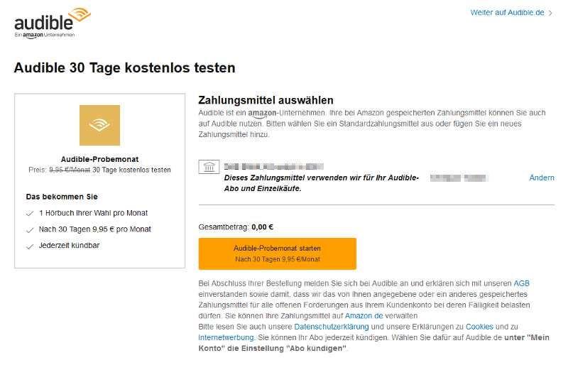 Bestätige, dass du Audible einen Monat testen willst. Solltest du nicht kündigen, verlängert sich das Abo um einen Monat (9,95€/Monat)